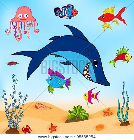 Fishes In Sea vector