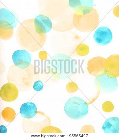 Light background with watercolor circles, orange and blue.