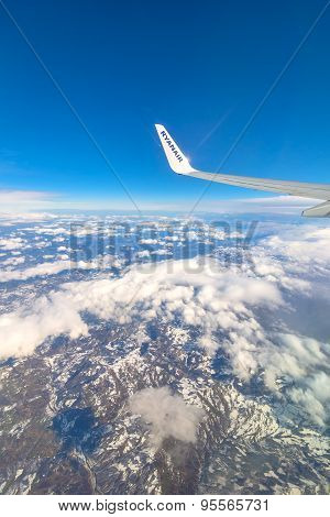 Ryanair Airplane's Wing And Aerial View Of Italy