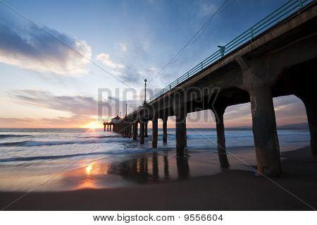 Manhattan Beach Pier Wide Angle Sunset