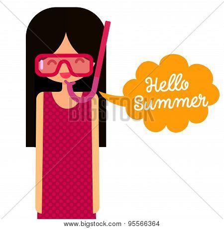 young girl with snorkel mask says hello summer. Vector flat character illustration.