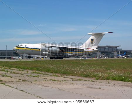 Ukraine Air Force IL-76MD aircraft landing on the runway