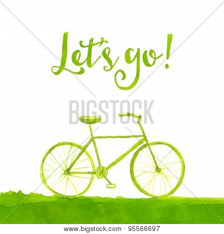 Green hand painted bicycle with text let's go. Healthy lifestyle concept. Vector watercolor illustra