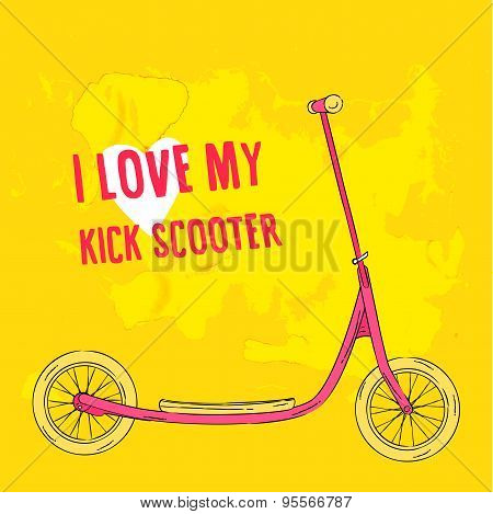 Hand drawn pink kick scooter on bright green background.