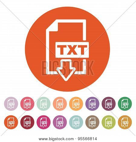 The Txt Icon. Text File Format Symbol. Flat