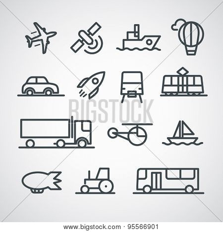 Different transport icons collection. Vector clip-art