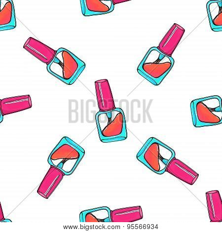 Nail polish bottles vector seamless pattern. Makeup vector background