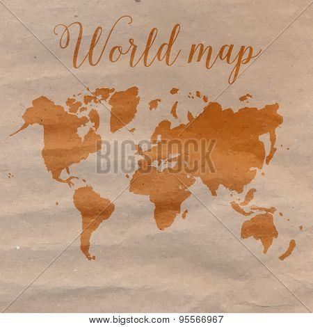 World map hand drawn on craft paper. Vector illustration.
