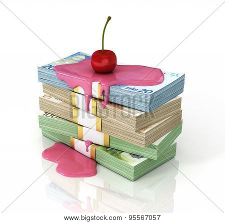 Stack Of Money Poured Syrup With A Cherry On Top. Concept Of Persent. Money Is Served!