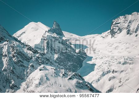 Scenic View Of The Winter Mountains.