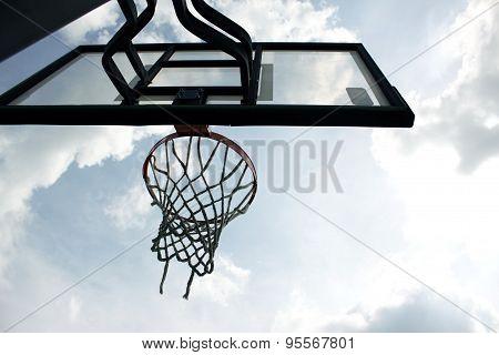 Basketball hoop in the high school