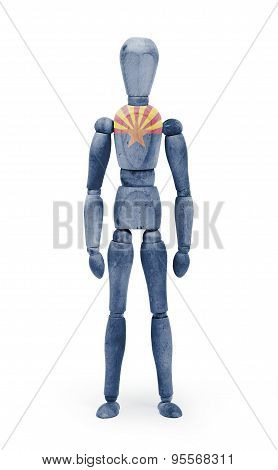 Wood Figure Mannequin With Us State Flag Bodypaint - Arizona