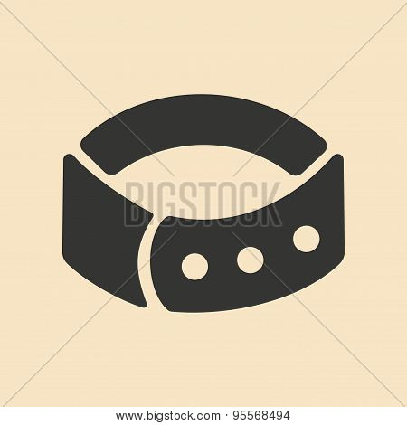 Flat in black and white mobile application dog-collar