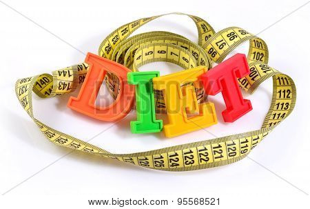 Word Diet Written By Colorful Letters With Yellow Measuring Tape On White