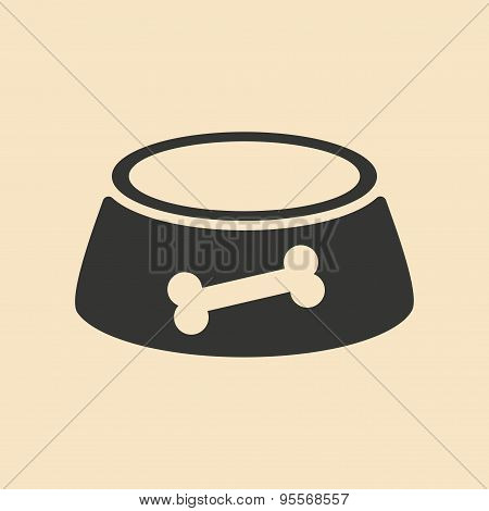 Flat in black and white mobile application dog bowl
