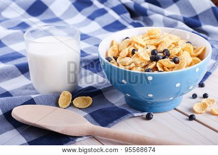 Cornflakes With Bilberry, Milk Cup And Spoon