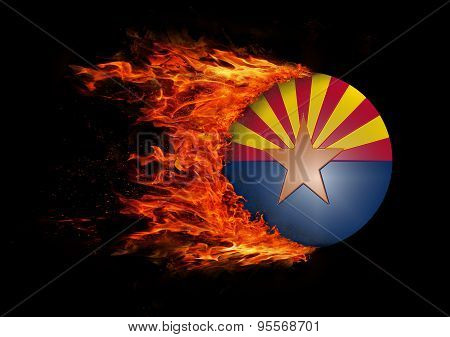 Us State Flag With A Trail Of Fire - Arizona