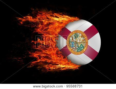 Us State Flag With A Trail Of Fire - Florida