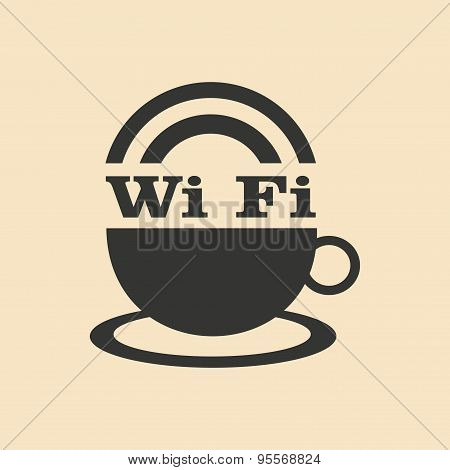 Flat in black and white mobile application wi-Fi