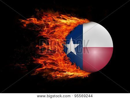 Us State Flag With A Trail Of Fire - Texas