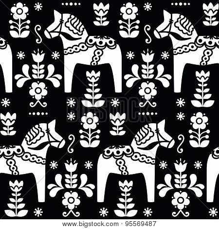 Swedish folk art Dala or Daleclarian horse seamless pattern on black
