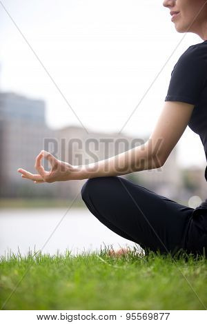 Young Business Woman Meditating