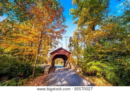 Maryland Covered Bridge In Autumn