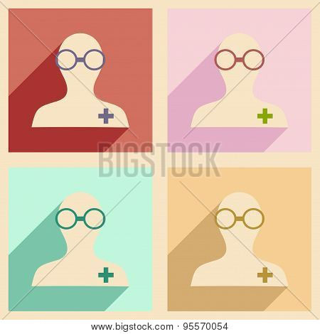 Flat with shadow concept and mobile application pharmacist