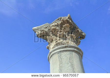 Detail Of Standing Corinthian Order Column At Ancient Agora On Greek Kos Island