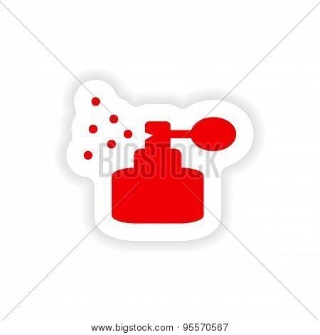 icon sticker realistic design on paper perfume