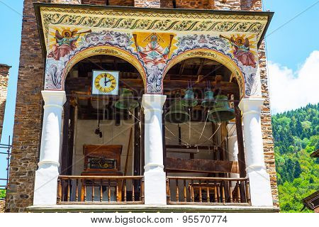 Part Of Bell Tower In Famous Rila Monastery, Bulgaria