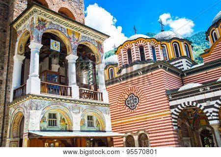 Part Of Bell Tower And Church In Famous Rila Monastery, Bulgaria