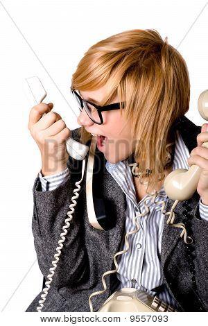 Geschäftsfrau mit drei Handys