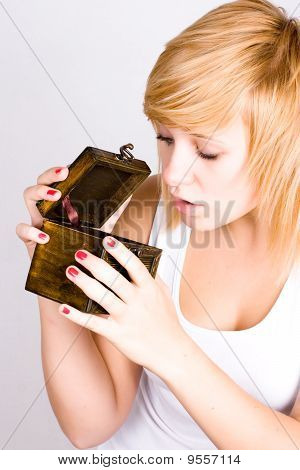 Blond Woman With Wooden Box