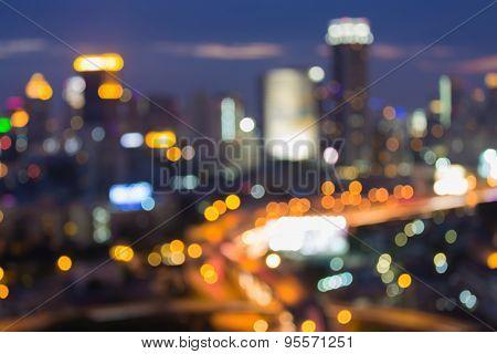 Evening traffic, The city lights.