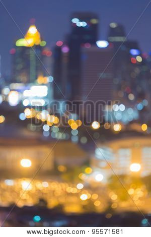 Twilight of blur city lights, abstract bokeh background