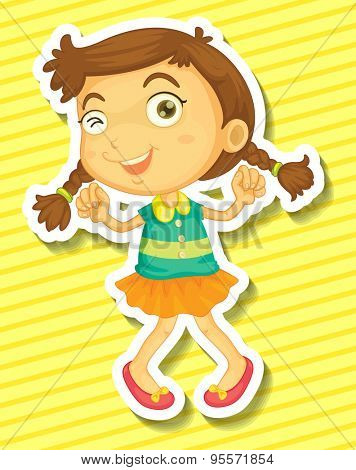 Cute little girl in orange skirt dancing