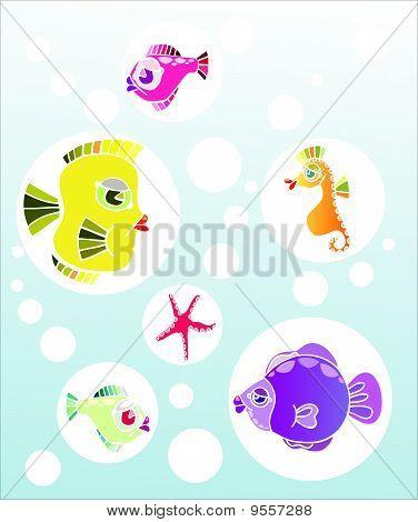Vector fish set
