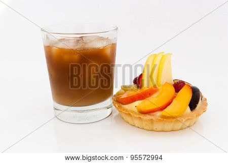 Fruit Tart With Glass Of Ice Coffee On White Background