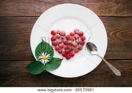 Raspberry Dessert On A White Plate