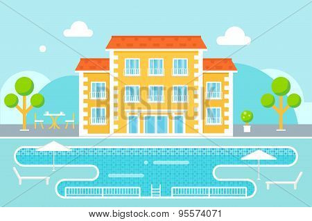 Hotel Building with Swimming Pool Resort Area Against Nature Background