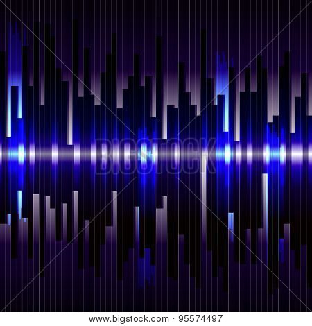 Abstract digital bacground. Motion blue vertical lines. Raster eq
