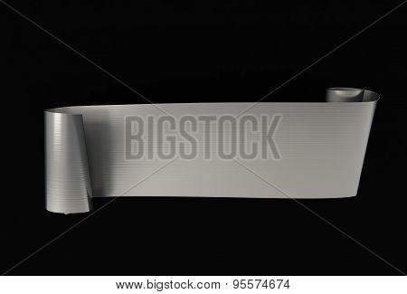 Metalr realistic ribbon. Black  background. Raster 3d element