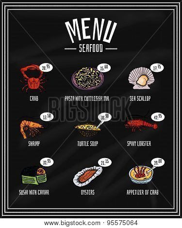 Colorful Menu Of Seafood And Delicacies On The Blackboard
