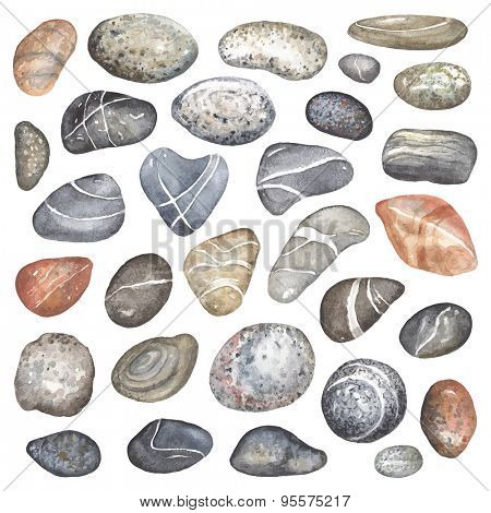 Collection of thirty watercolor stones, vector illustration.