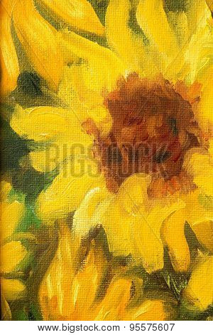 Sunny Sunflowers  Oil Painting On Canvas.