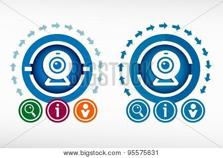 Webcam Sign Icon And Creative Design Elements.