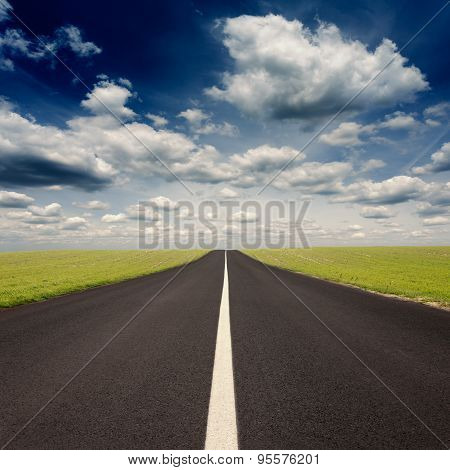 Driving On Empty Asphalt Road At Idyllic Sunny Day