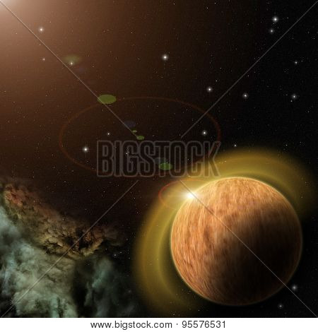 Planet With Nebula And Stars In Galaxy