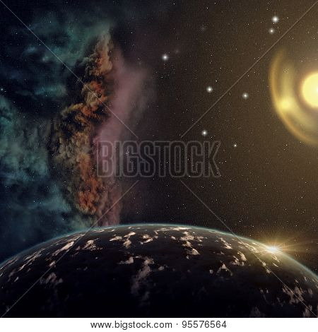 Planets With Nebula And Stars In Cosmos